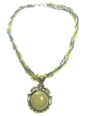 Gorgeous green mala with stone studded pendant