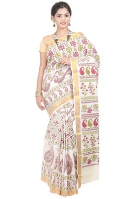 cream printed cotton saree with blouse