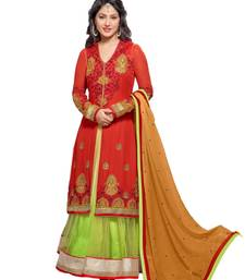 Buy Red and green georgette embroidered semi_stitched salwar with dupatta party-wear-salwar-kameez online