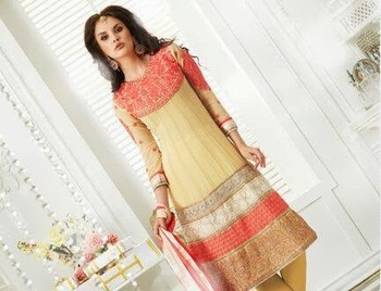 QURESHI PEACH EMBROIDERY WITH YELLOW GOLD ZARI ANARALI SUIT
