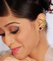 Buy Maroon Red Traditional Rajwadi Ear Cuffs Earrings Jewellery for Women - Orniza stud online