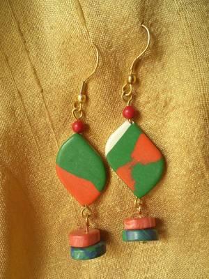 Green Orange Stone Earrings -Aliff Lailaa-02033