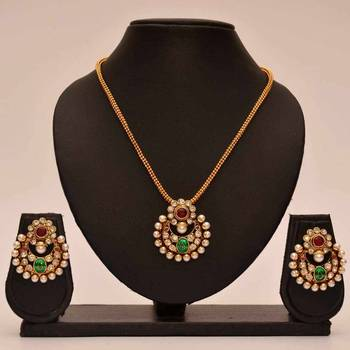Anvi's chand bali with ruby and enamel pendent and chain