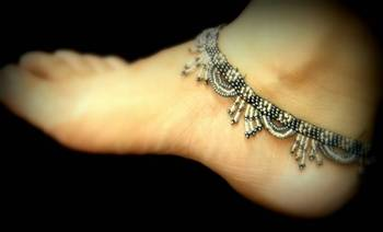 Handmade Bead Anklets- Gray & Silver
