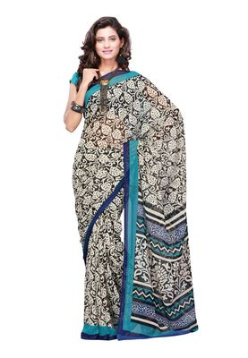 Fabdeal Off White & Teal Colored Apple Georgette Saree With Unstiched Blouse