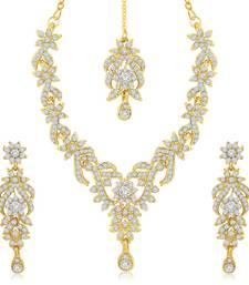 Buy Trendy Gold Plated Australian Diamond Stone Studded Necklace Set necklace-set online