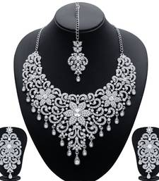 Buy Traditionally Rhodium Plated AD Bridal Necklace Set for Women necklace-set online
