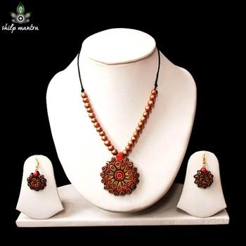 Shilpmantra's Ecofriendly Terracotta Necklace Red