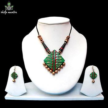 Shilpmantra's Ecofriendly Green Terracotta Necklace Set