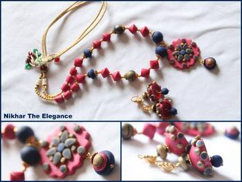 Pink and Blue Necklace Set