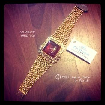 Chariot- Red Square Bracelet
