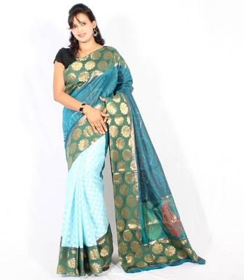 Designer supernet fancy aanchal border half half saree
