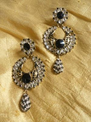 Golden Black Earrings-130188