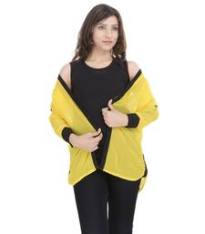 Buy Yellow Chiffon Women Shirt with Black Inner girls-jackets-coat online