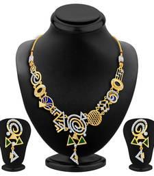 Buy Resplendent Gold Plated Geometrical Shaped Necklace Set necklace-set online