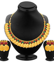 Buy Glorious Gold Plated Temple Jewellery Necklace Set necklace-set online