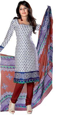 Fabdeal White & Blue Colored Crepe Jacquard Unstitched Salwar Suit