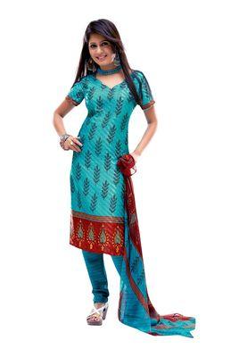 Fabdeal Light Blue Colored Crepe Jacquard Unstitched Salwar Suit