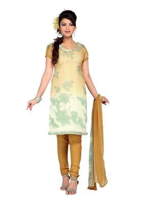 Fabdeal Off White Colored Chiffon Unstitched Salwar Suit