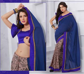 Saree Gold Desigher party wear Saree Rich look 1603