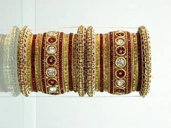 Indian Bridal Rajasthani Lakh chura Bangles (RED)