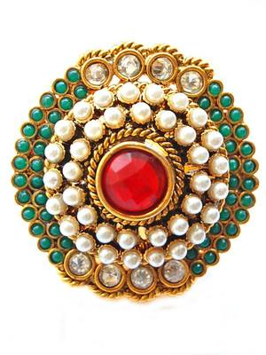 Golden Green Moti Ethnic Finger Ring