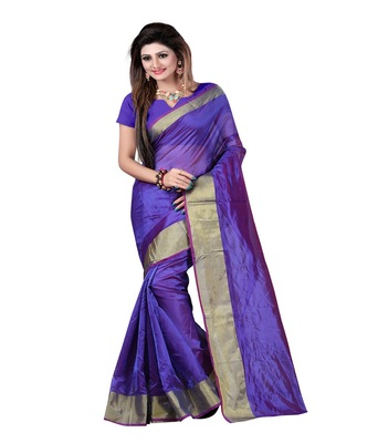 Blue printed cotton_poly saree with blouse