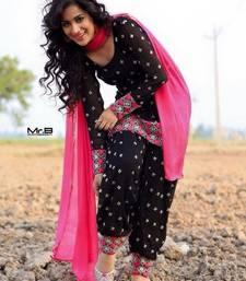 Buy Black and Pink embroidered cotton semi stitched salwar with dupatta cotton-salwar-kameez online