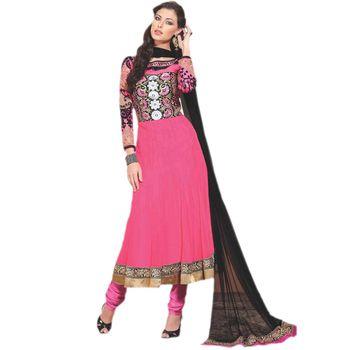 Sahiba Pure Georgette Pink Color Designer Dress Material Anar3702