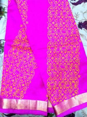 Pink cotton silk with block print