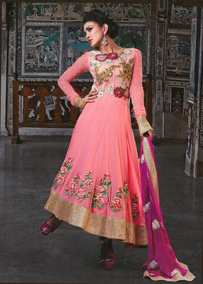 Gleaming Rose Pink  Faux Georgette & Senton Long Length Anarkali Salwar Kameez