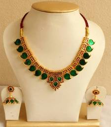 Buy BEAUTIFUL GREEN MANGO PALAKKA NECKLACE SET DJ14669 eid-jewellery online