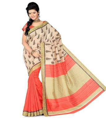beige and orange  printed art silk sare with blouse