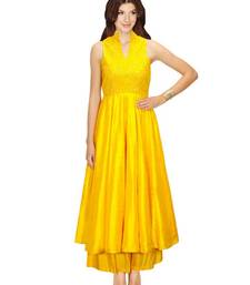 Buy yellow silk embroidered semi_stitched salwar with dupatta sharara online
