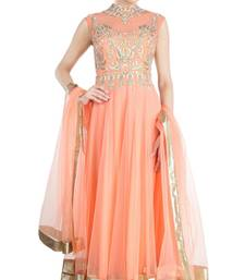 Buy peach net plain semi_stitched salwar with dupatta anarkali-salwar-kameez online