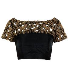 Buy Black designer cutwork embroidered unstitched blouse for women blouse-fabric online