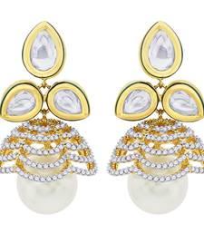 Buy 18 Karat Gold Plated Kundan Petal Drop Earring punjabi-jewellery online