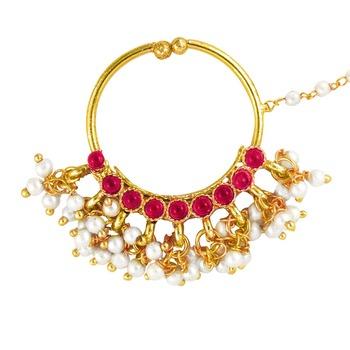 Deepika Padukone Inspired Traditional Ethnic Pink Circle Pearl Nath Nose ring for Women