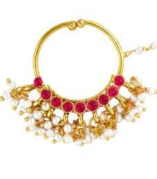 Buy Deepika Padukone Inspired Traditional Ethnic Pink Circle Pearl Nath Nose ring for Women nose-ring online