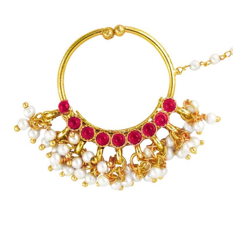 Buy Deepika Padukone Inspired Traditional Ethnic Pink Circle Pearl ...