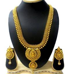 Buy Antique Design& Gorgeous Golden finishing Long Necklace Mala Set with Stunning Earring for bridal jewellery black-friday-deal-sale online