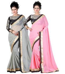 Buy Gray and Pink embroidered chiffon saree with blouse sarees-combo-sari online