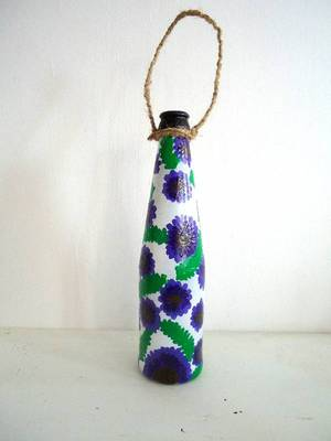 Handpainted bottle planters-Lavender