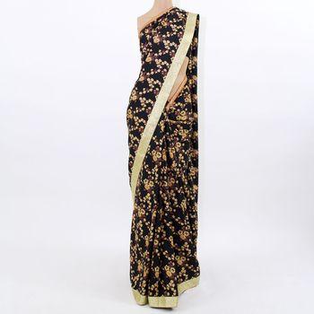 Black Floral Silk Saree
