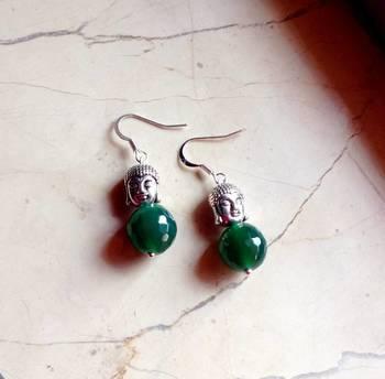 the buddha  earrings -green