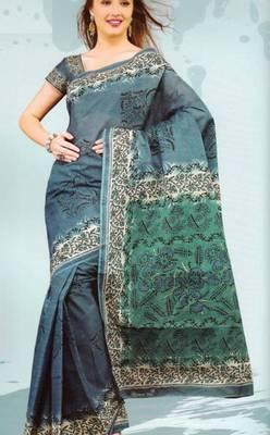 Sarees Mal Mal Cotton Designer Prints With Blouse Piece D.No D1013