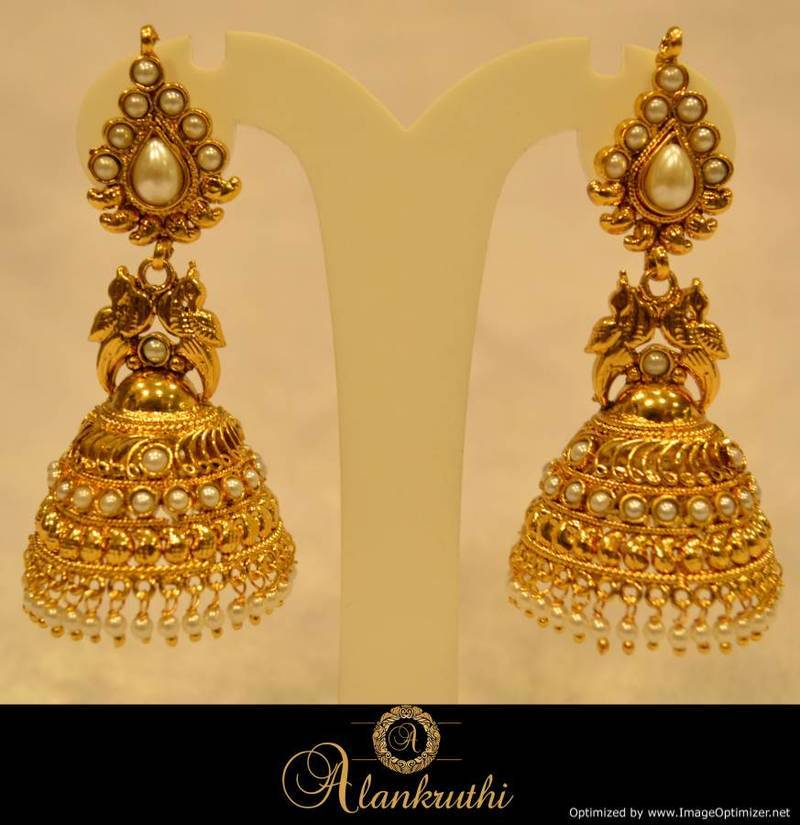 Alankruthi Fancy Gold Jhumka 22 Online