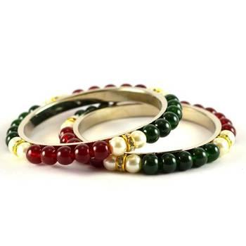 moti beads pearl bangles  size-2.4,2.6,2.8