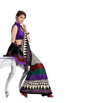 Hypnotex Bhagalpuri Black Color Designer Saree Fig2329A