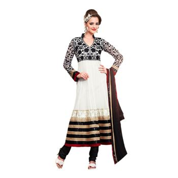 Hypnotex Faux georgette Off White Color Designer Dress Material Look17005